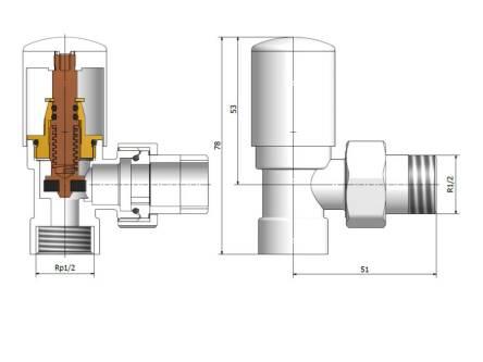 Комплект угловых кранов MERA THERM (VAR270W SWING1) для полотенцесушителя