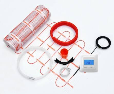 Тепла підлога THERMOVAL MASTERBOX TVK 010 готовий комплект терморегулятор і двожильний мат TVT 04 1м.кв. (0.5х2м)